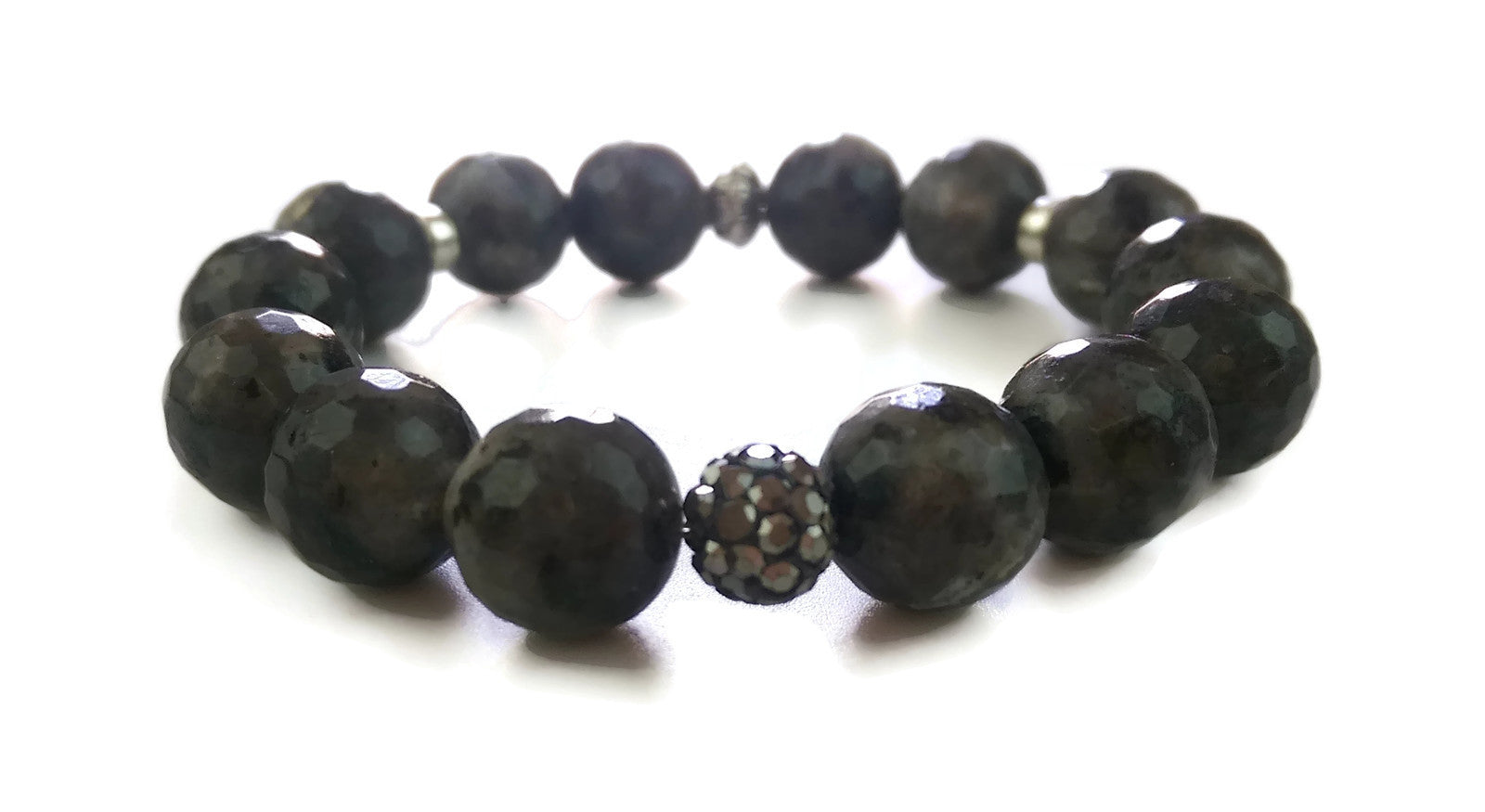 14mm Faceted Labradorite and Silver Lotus Shamballa Bead Wrist Mala Stretch Bracelet Crown Chakra