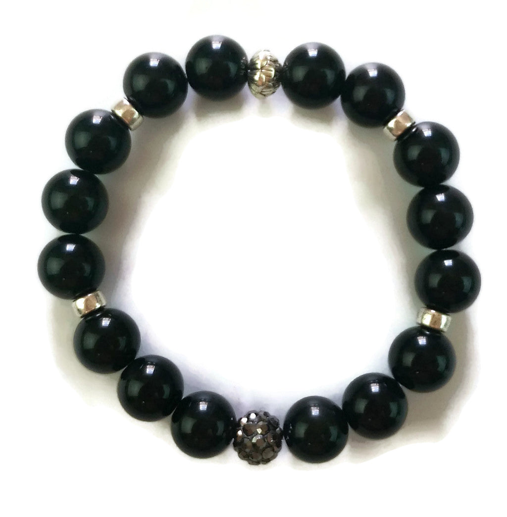 10mm Obsidian Stone and Silver Lotus Shamballa Bead Wrist Mala Stretch Bracelet Root Base Chakra