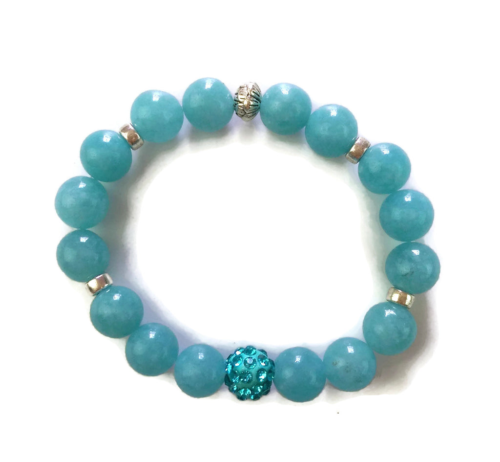 10mm Aquamarine Stone and Silver Lotus Shamballa Bead Wrist Mala Stretch Bracelet Throat Chakra