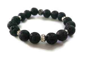 10mm Black Lava Stone and Silver Lotus Shamballa Bead Wrist Mala Stretch Bracelet Root Base Chakra