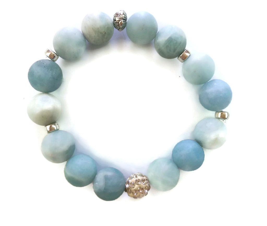 14mm Matte Aquamarine Stone & Silver Lotus Shamballa Bead Wrist Mala Stretch Bracelet Throat Chakra