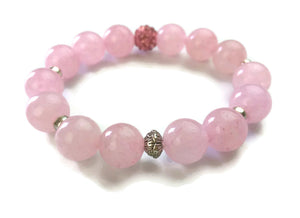 14mm Pink Rose Quartz Stone and Silver Lotus Shamballa Bead Wrist Mala Stretch Bracelet Heart Chakra