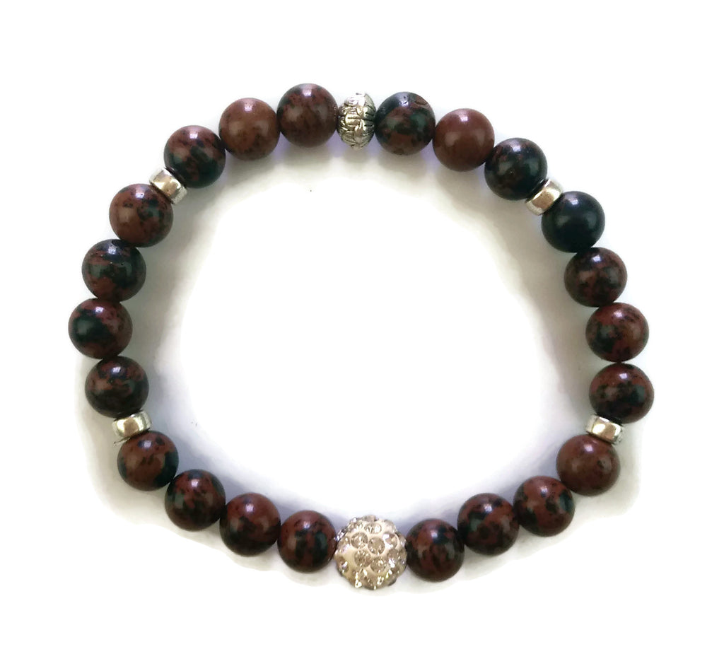 8mm Red Spiderman Jasper Stone & Silver Lotus Shamballa Bead Wrist Mala Stretch Bracelet Root Chakra