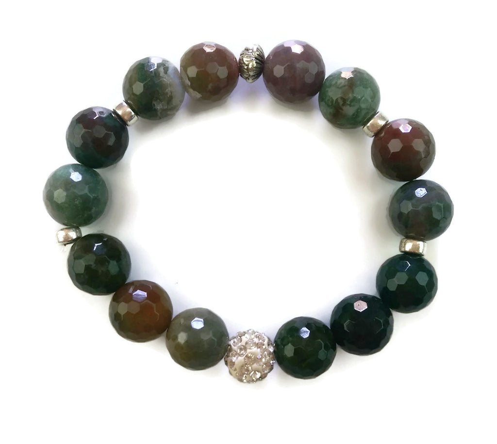 14mm Faceted Indian Agate Stone Silver Lotus Shamballa Bead Wrist Mala Stretch Bracelet Heart Chakra