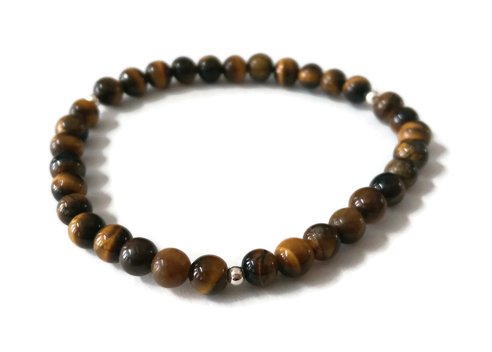 6mm Tiger Eye Stone Stone Stretch Meditation Yoga Bracelet | 925 Silver Third or Sacral Chakra | Brown and Yellow Small Petite Jewelry Active