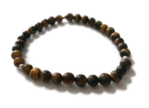 6mm Tiger Eye Stone Stretch Meditation Yoga Bracelet | 925 Silver Third or Sacral Chakra | Brown and Yellow Small Petite Jewelry Active