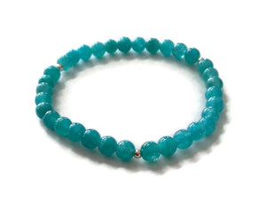 Simple Blue Aquamarine 925 Silver Stretchy Wrist Mala / Stretch Bracelet | Meditation | Throat Chakra/ Focus Balance
