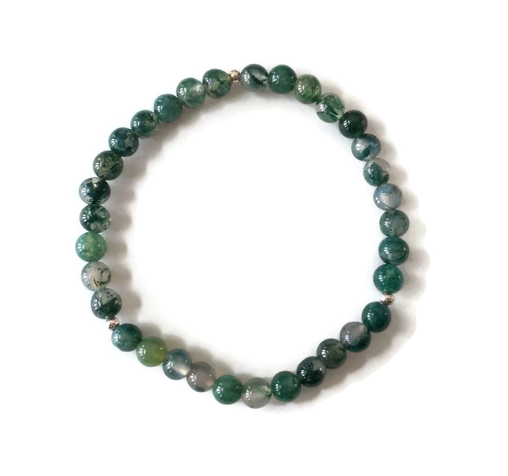 Simple Green Moss Agate 925 Silver Stretchy Wrist Mala / Stretch Bracelet | Meditation | Fourth Heart Chakra/ Focus Balance