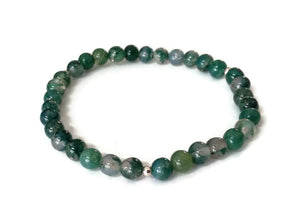 6mm Simple Green Moss Agate 925 Silver Stretchy Wrist Mala / Stretch Bracelet | Meditation | Fourth Heart Chakra/ Focus Balance