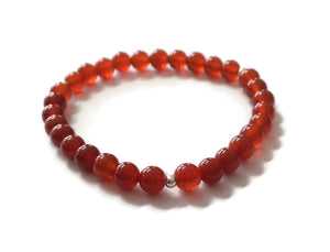 6mm Simple Carnelian 925 Silver Stretchy Wrist Mala / Stretch Bracelet | Meditation | Second Sacral Chakra/ Focus Balance
