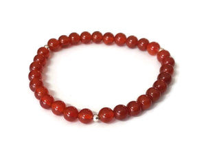 6mm Simple Carnelian Agate 925 Silver Stretchy Wrist Mala / Stretch Bracelet | Meditation | Second Sacral Chakra/ Focus Balance