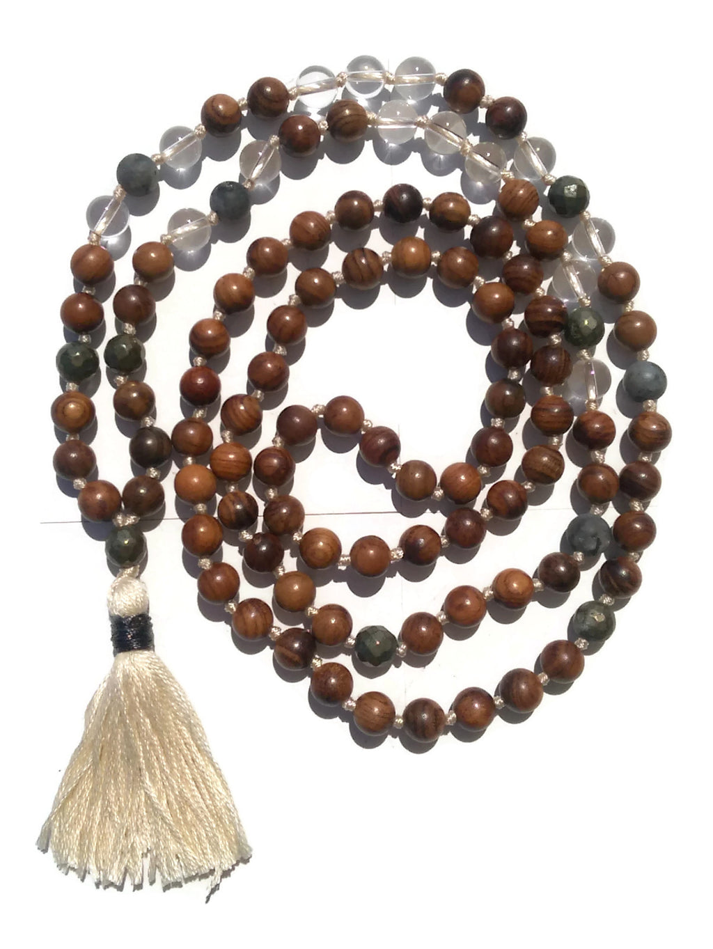 Pure Collection 8mm Pear Wood Clear Crystal Matte Labradorite Pyrite Traditional Hand Knotted 108 Bead Meditation Mala Necklace Crown Chakra