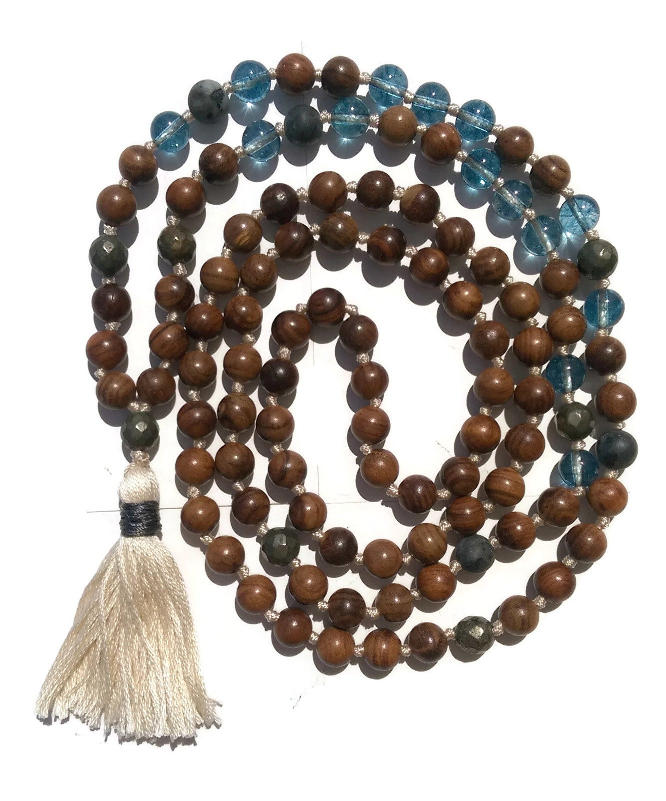 Pure Collection 8mm Pear Wood Phantom Crystal Labradorite Pyrite Traditional Hand Knotted 108 Bead Meditation Mala Necklace Throat Chakra