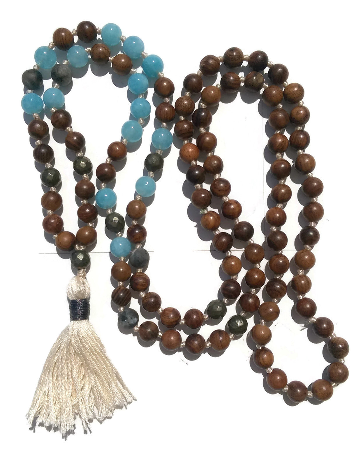 Pure Collection 8mm Pear Wood Aquamarine Labradorite Pyrite Traditional Hand Knotted 108 Bead Meditation Mala Necklace Throat Chakra Yoga