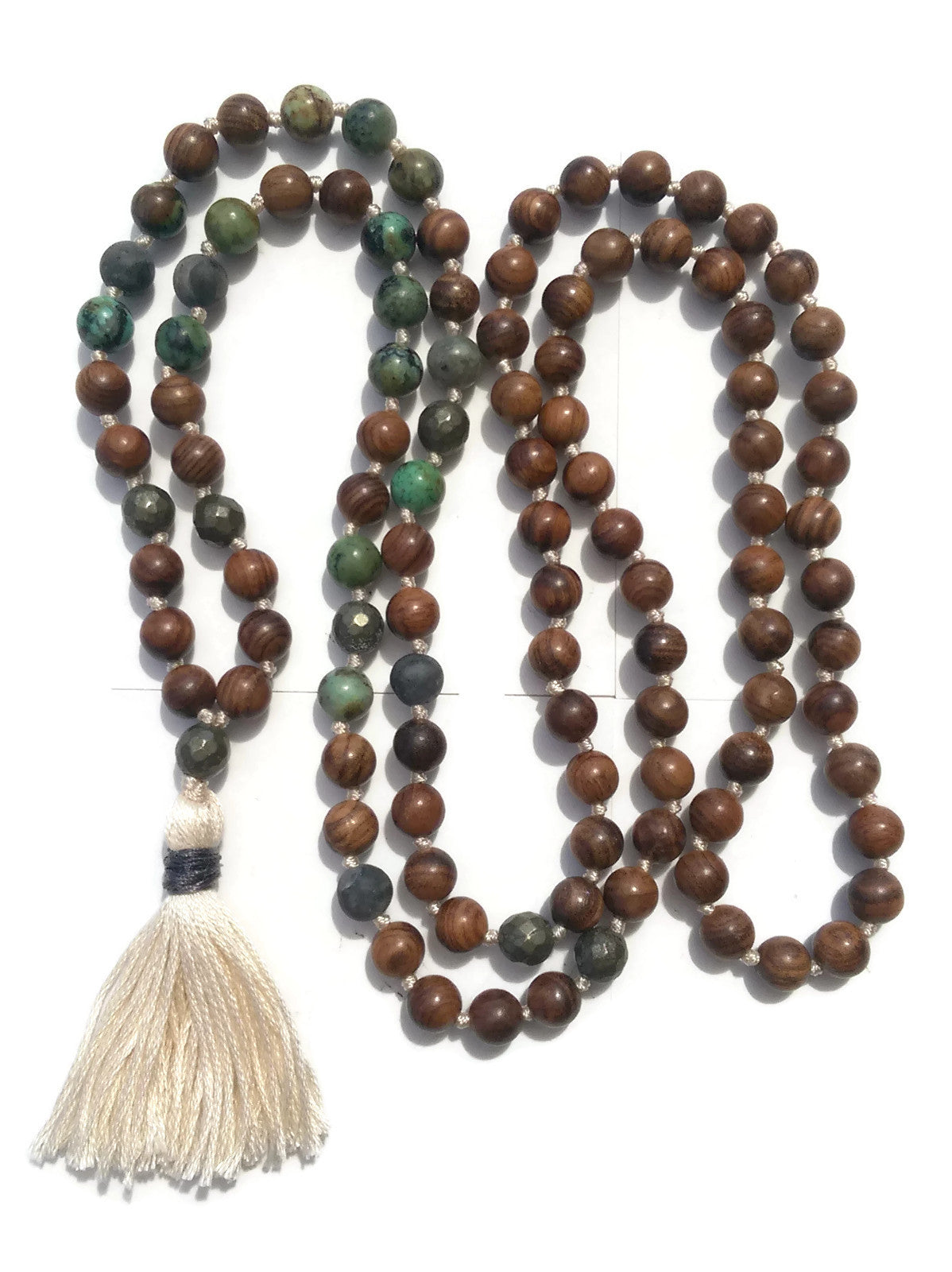 Pure Collection 8mm Pear Wood African Turquoise Labradorite Pyrite Traditional Hand Knotted 108 Bead Meditation Mala Necklace Heart Chakra