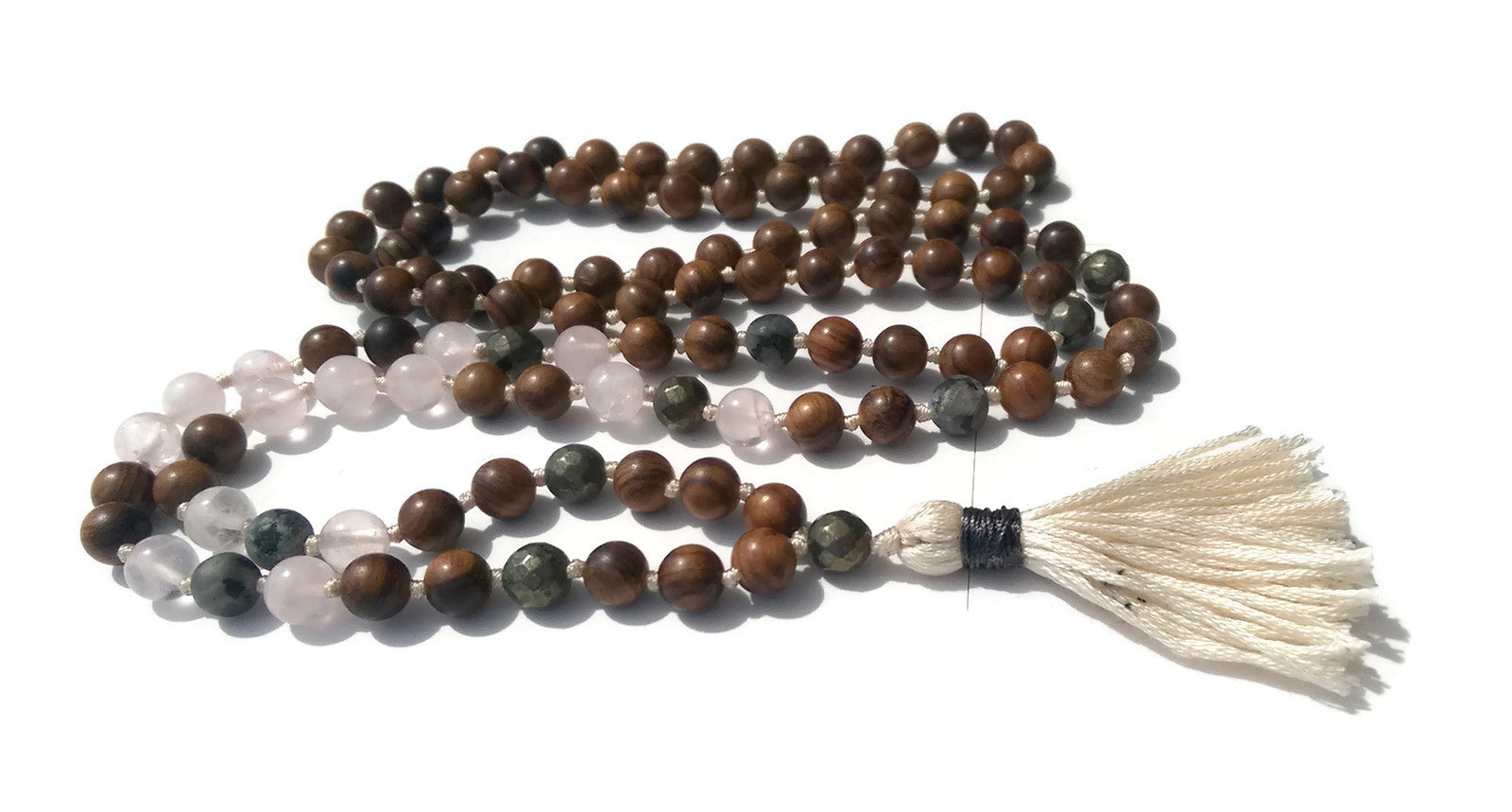 Pure Collection 8mm Pear Wood Rose Quartz Labradorite Pyrite Traditional Hand Knotted 108 Bead Meditation Mala Necklace Heart Chakra Yoga