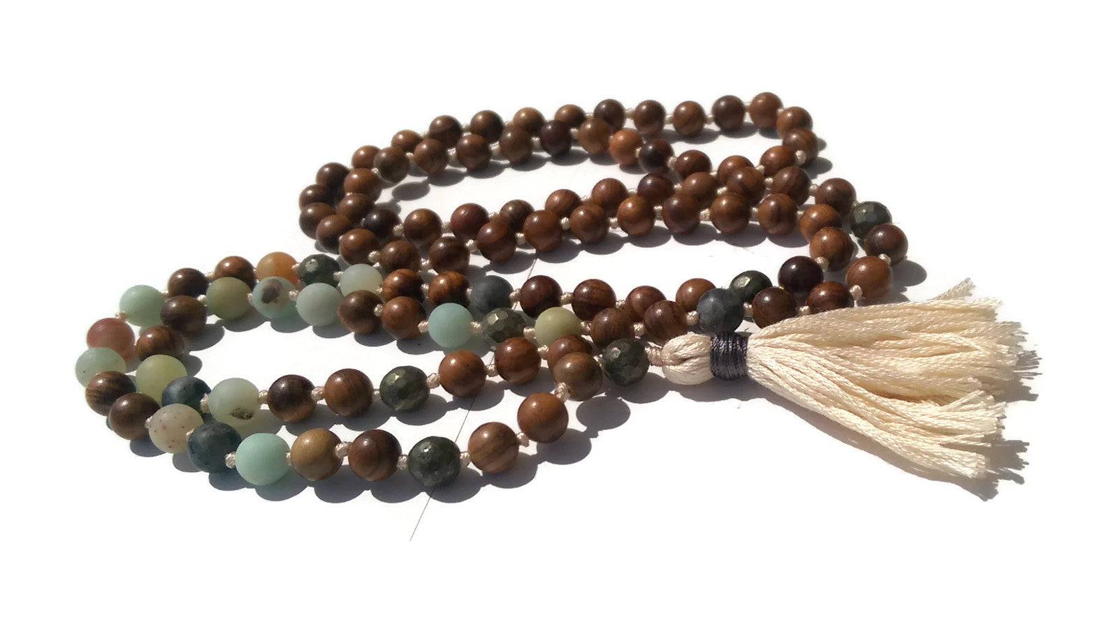 Pure Collection 8mm Pear Wood Amazonite Labradorite Pyrite Traditional Hand Knotted 108 Bead Meditation Mala Necklace Heart Chakra Yoga