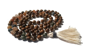 Pure Collection 8mm Pear Wood Sunstone Labradorite Pyrite Traditional Hand Knotted 108 Bead Meditation Mala Necklace Sacral Chakra