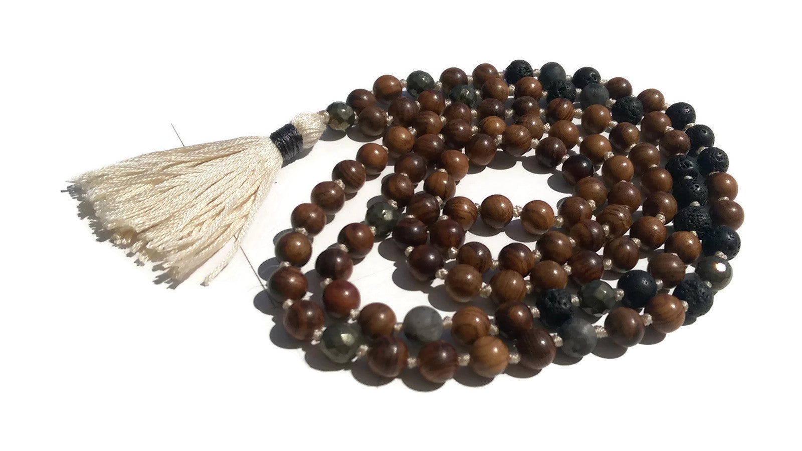 Pure Collection 8mm Pear Wood Lava Labradorite Pyrite Traditional Hand Knotted 108 Bead Meditation Mala Necklace Root Base Chakra Yoga
