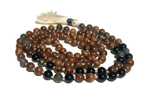 Pure Collection 8mm Pear Wood Obsidian Labradorite Pyrite Traditional Hand Knotted 108 Bead Meditation Mala Necklace Root Base Chakra Yoga