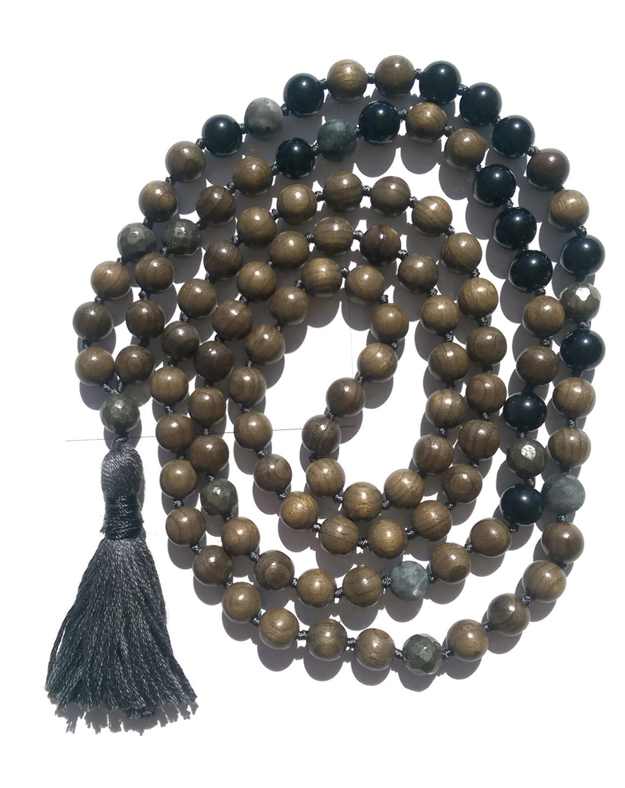 Pure Collection 8mm Sandalwood Obsidian Labradorite Pyrite Traditional Hand Knotted 108 Bead Meditation Mala Necklace Root Chakra Yoga