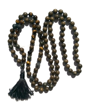 Pure Collection 8mm Sandalwood Tiger Eye Labradorite Pyrite Traditional Hand Knotted 108 Bead Meditation Mala Necklace Solar Plexus Chakra
