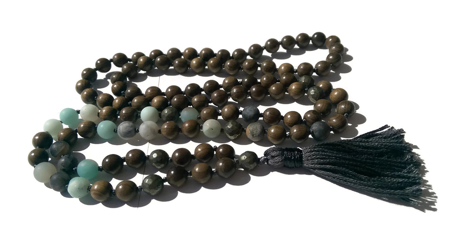 Pure Collection 8mm Sandalwood Amazonite Labradorite Pyrite Traditional Hand Knotted 108 Bead Meditation Mala Necklace Heart Chakra Yoga