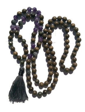 Pure Collection 8mm Sandalwood Amethyst Labradorite Pyrite Traditional Hand Knotted 108 Bead Meditation Mala Necklace Crown Chakra Yoga