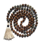 Pure Collection 8mm Pear Wood Labradorite Pyrite Traditional Hand Knotted 108 Bead Meditation Mala Necklace Crown Chakra Yoga Focus Energy