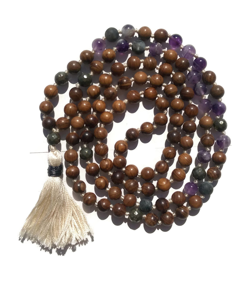 Pure Collection 8mm Pear Wood Amethyst Labradorite Pyrite Traditional Hand Knotted 108 Bead Meditation Mala Necklace Crown Chakra Yoga