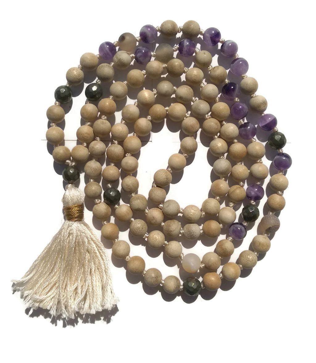 Pure Collection 8mm Matte Sandalwood Amethyst Labradorite Sardonyx Traditional Hand Knotted 108 Bead Meditation Mala Necklace Crown Chakra