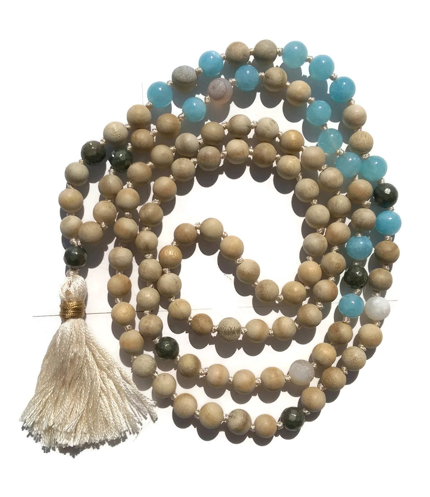 Pure Collection 8mm Sandalwood Aquamarine Labradorite Sardonyx Traditional Hand Knotted 108 Bead Meditation Mala Necklace Throat Chakra