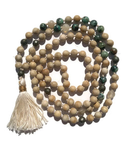 Pure Collection 8mm Matte Sandalwood Turquoise Labradorite Sardonyx Traditional Hand Knotted 108 Bead Meditation Mala Necklace Heart Chakra