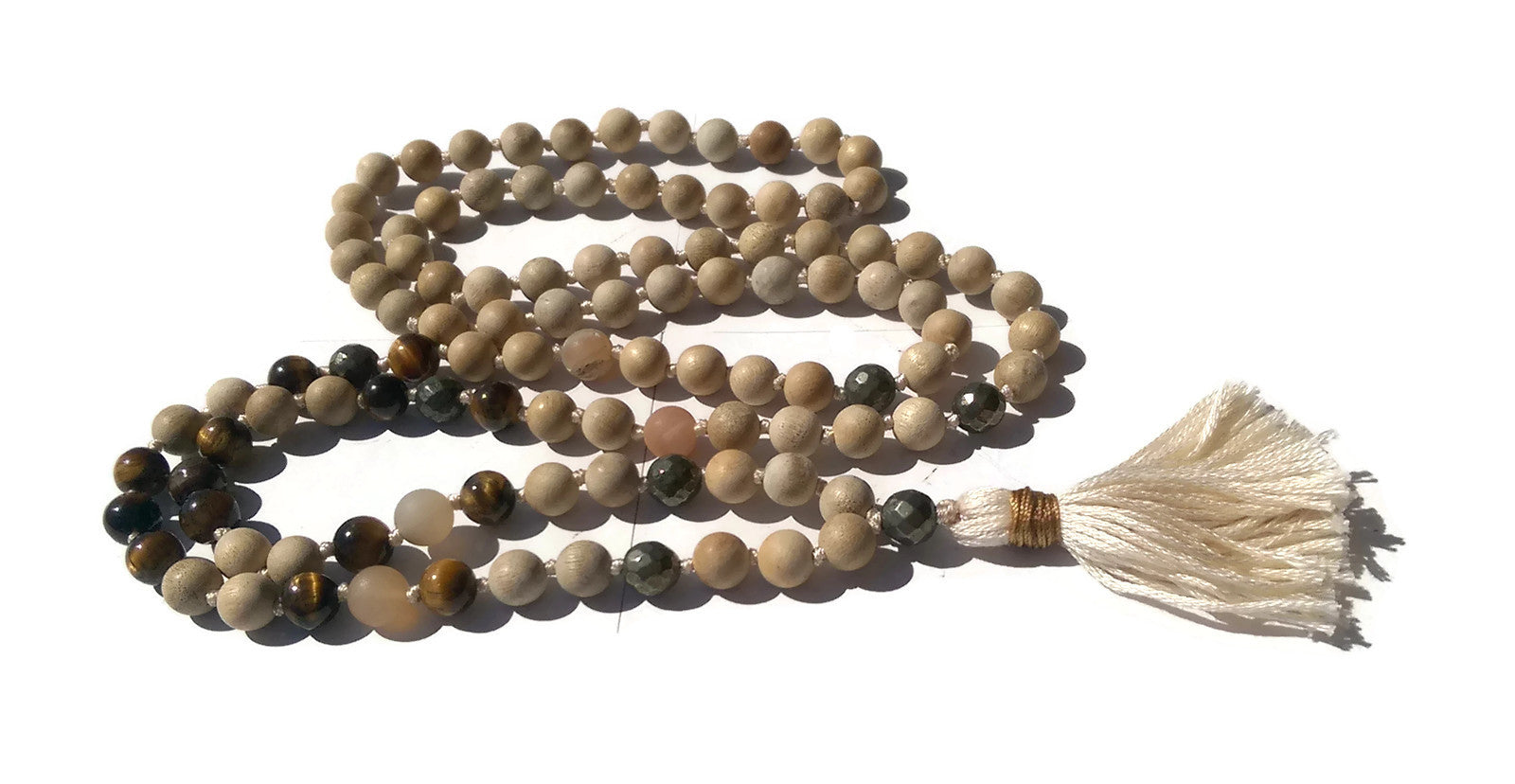 Pure Collection 8mm Sandalwood Tiger Eye Labradorite Sardonyx Traditional Hand Knotted 108 Bead Meditation Mala Necklace Solar Plexus Chakra
