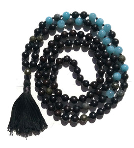 Pure Collection 8mm Ebony Aquamarine Labradorite Pyrite Traditional Hand Knotted 108 Bead Meditation Mala Necklace Throat