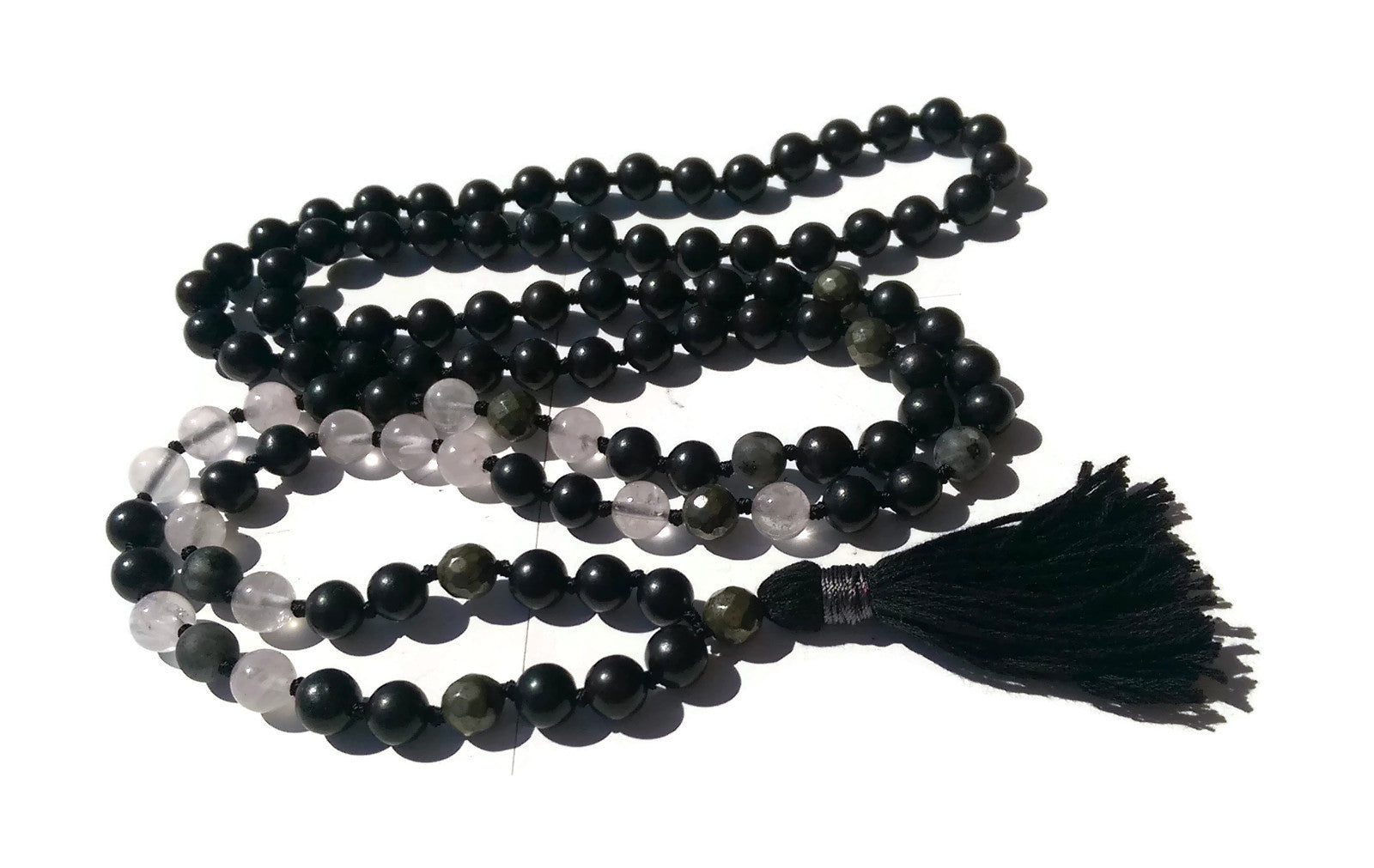 Pure Collection 8mm Ebony Rose Quartz Labradorite Pyrite Traditional Hand Knotted 108 Bead Meditation Mala Necklace Heart Chakra Yoga Focus