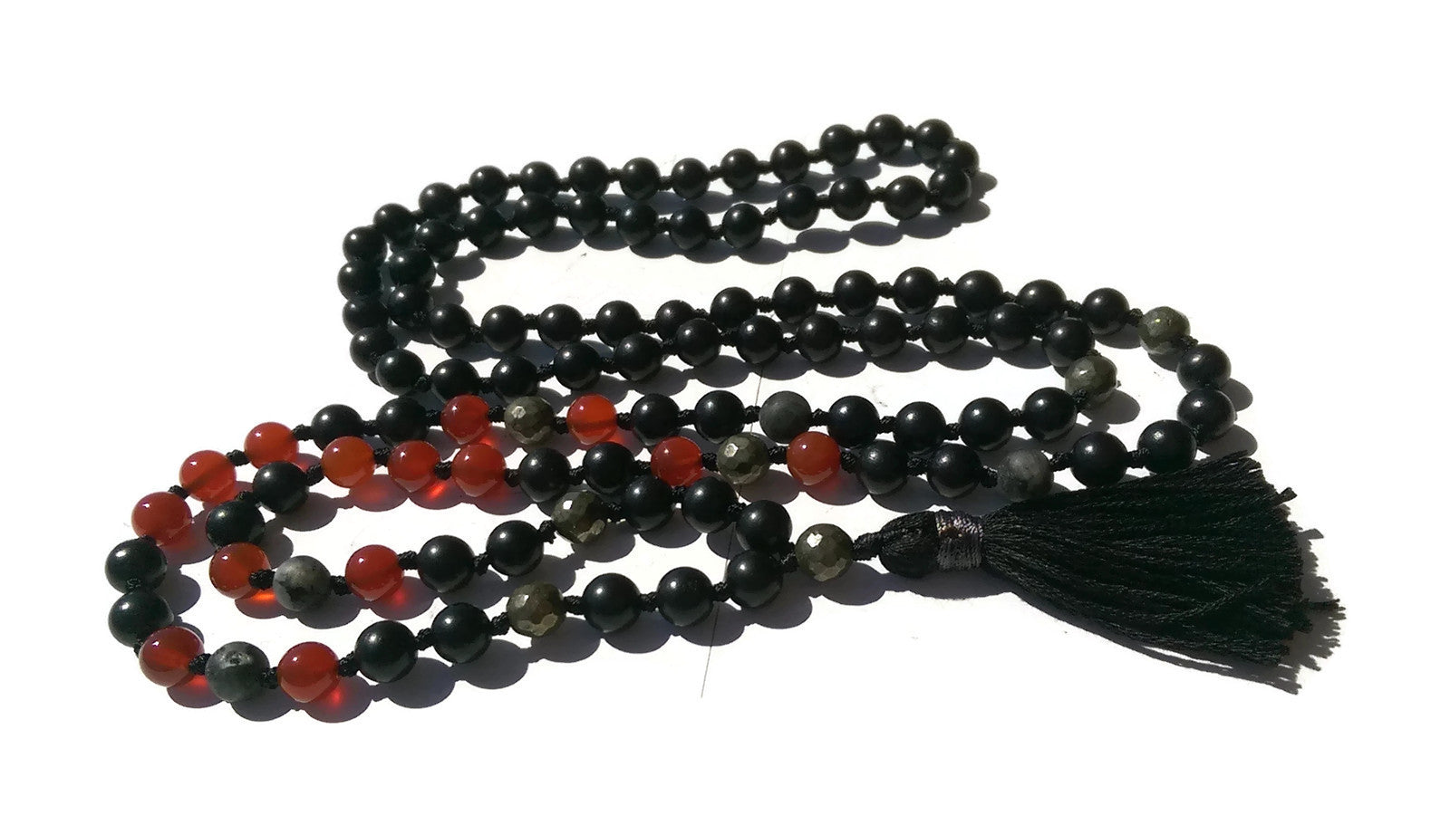 Pure Collection 8mm Ebony Carnelian Labradorite Pyrite Traditional Hand Knotted 108 Bead Meditation Mala Necklace Sacral Chakra Yoga Focus