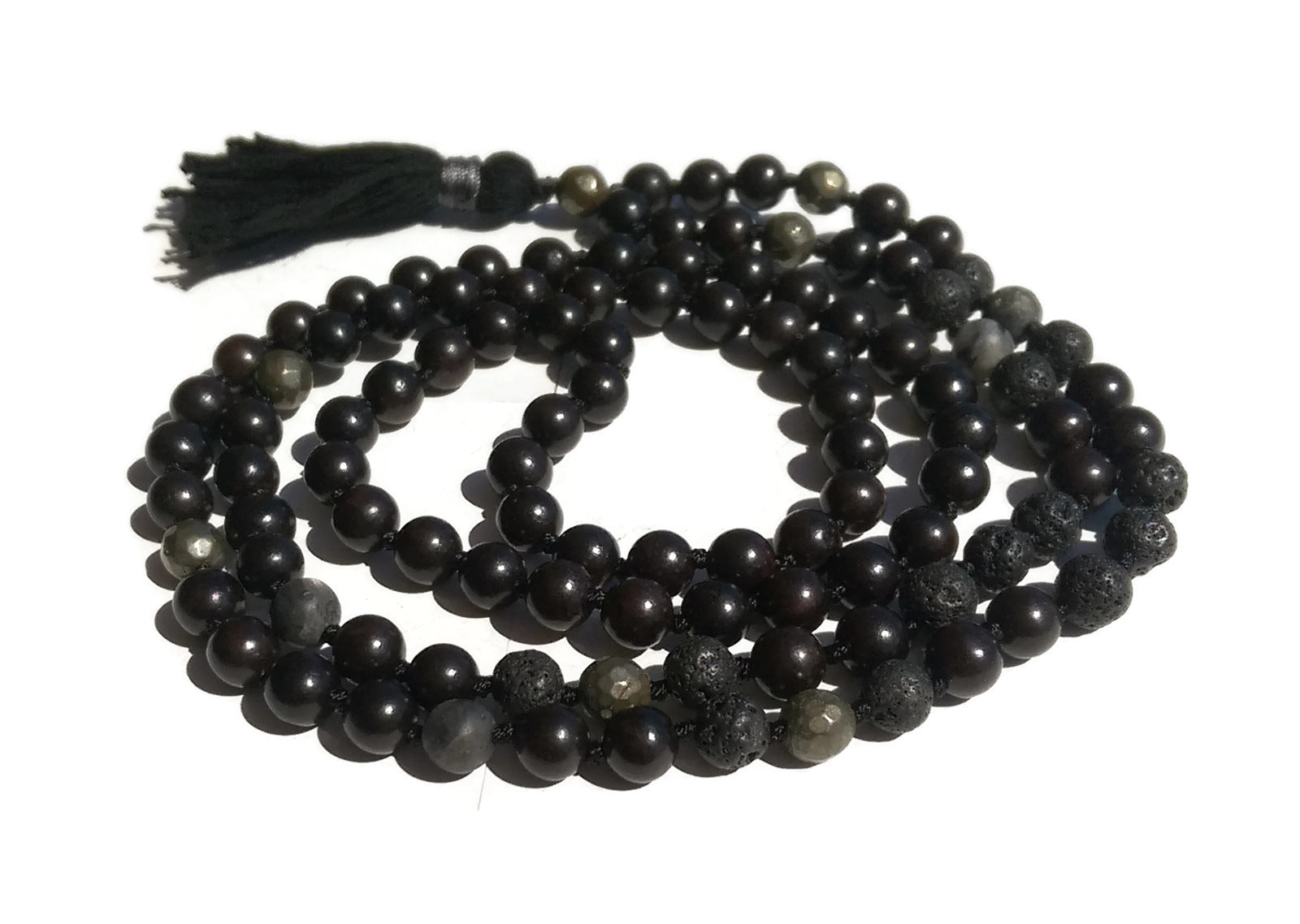 Pure Collection 8mm Ebony Lava Labradorite Pyrite Traditional Hand Knotted 108 Bead Meditation Mala Necklace Crown Chakra Yoga Energy Focus