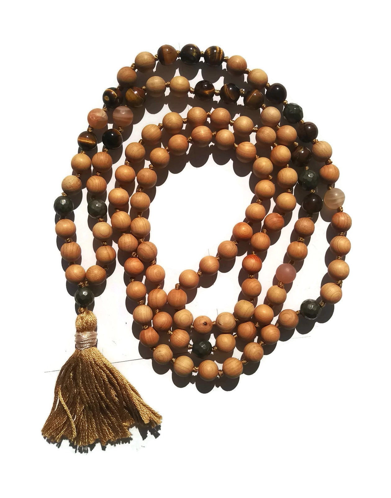 Pure Collection 8mm Cypress Tiger Eye Sunstone Pyrite Traditional Hand Knotted 108 Bead Meditation Mala Necklace Solar Plexus Chakra Energy