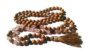 Pure Collection 8mm Cypress Rose Quartz Sunstone Pyrite Traditional Hand Knotted 108 Bead Meditation Mala Necklace Heart Chakra Yoga