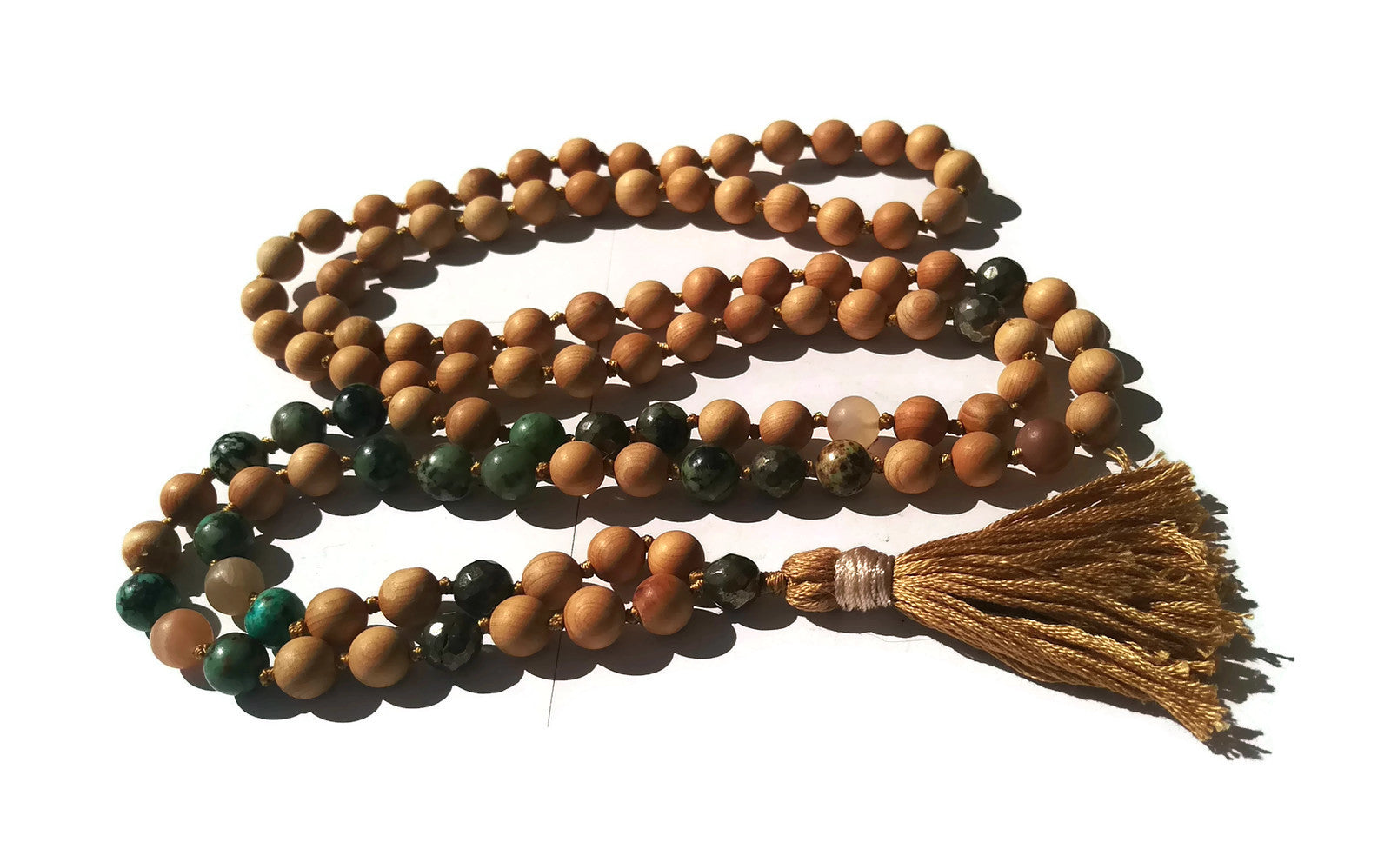 Pure Collection 8mm Cypress African Turquoise Sunstone Pyrite Traditional Hand Knotted 108 Bead Meditation Mala Necklace Heart Chakra Yoga