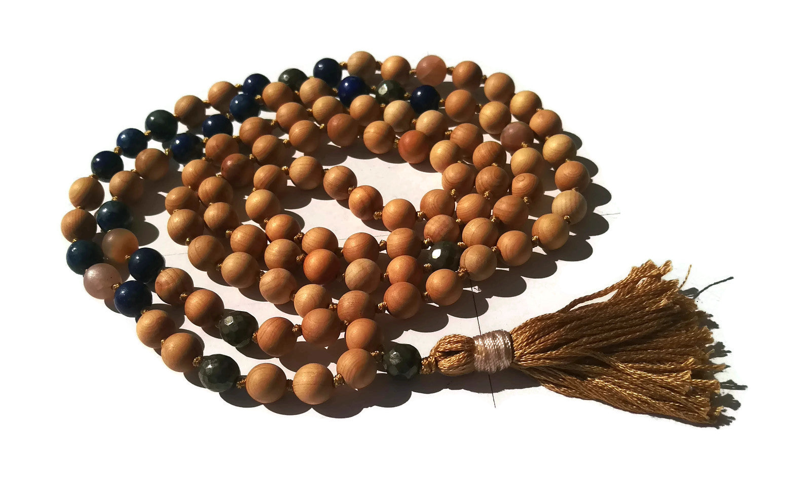 Pure Collection 8mm Cypress Lapis Lazuli Sunstone Pyrite Traditional Hand Knotted 108 Bead Meditation Mala Necklace Third Eye Chakra Yoga