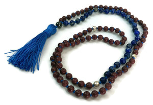 Balance Collection Violet Sandalwood & Blue Lapis Lazuli Stone Traditional Knotted 108 Meditation Mala Necklace Yoga Jewelry