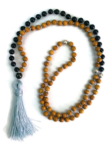 Balance Collection Gold Sandalwood & Blue Sandstone Stone Traditional Knotted 108 Meditation Mala Necklace Third Eye Chakra