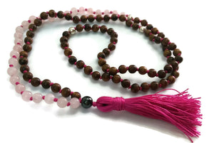 Balance Collection Black Pear Wood & Pink Rose Quartz Stone Traditional Knotted 108 Meditation Mala Necklace Heart Chakra