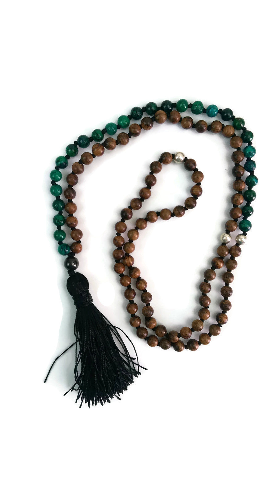 Balance Collection Black Pear Wood & Green Phoenix Stone Traditional Knotted 108 Meditation Mala Necklace Heart Chakra