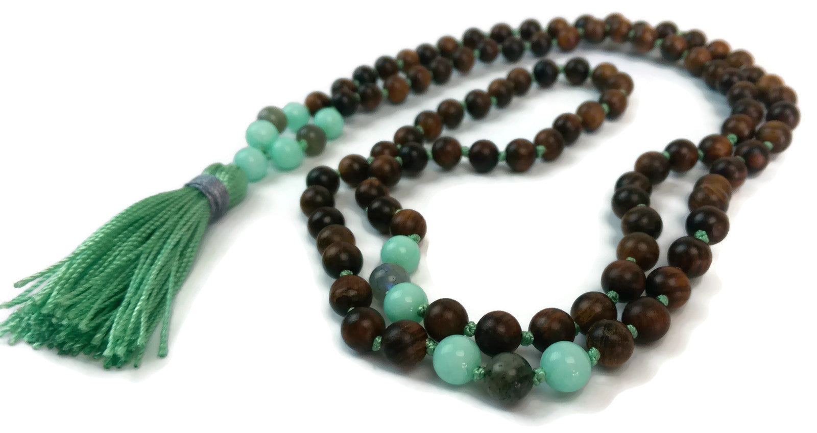 Balance Collection Sandalwood, Amazonite and Labradorite Traditional Knotted 108 Meditation Mala Necklace