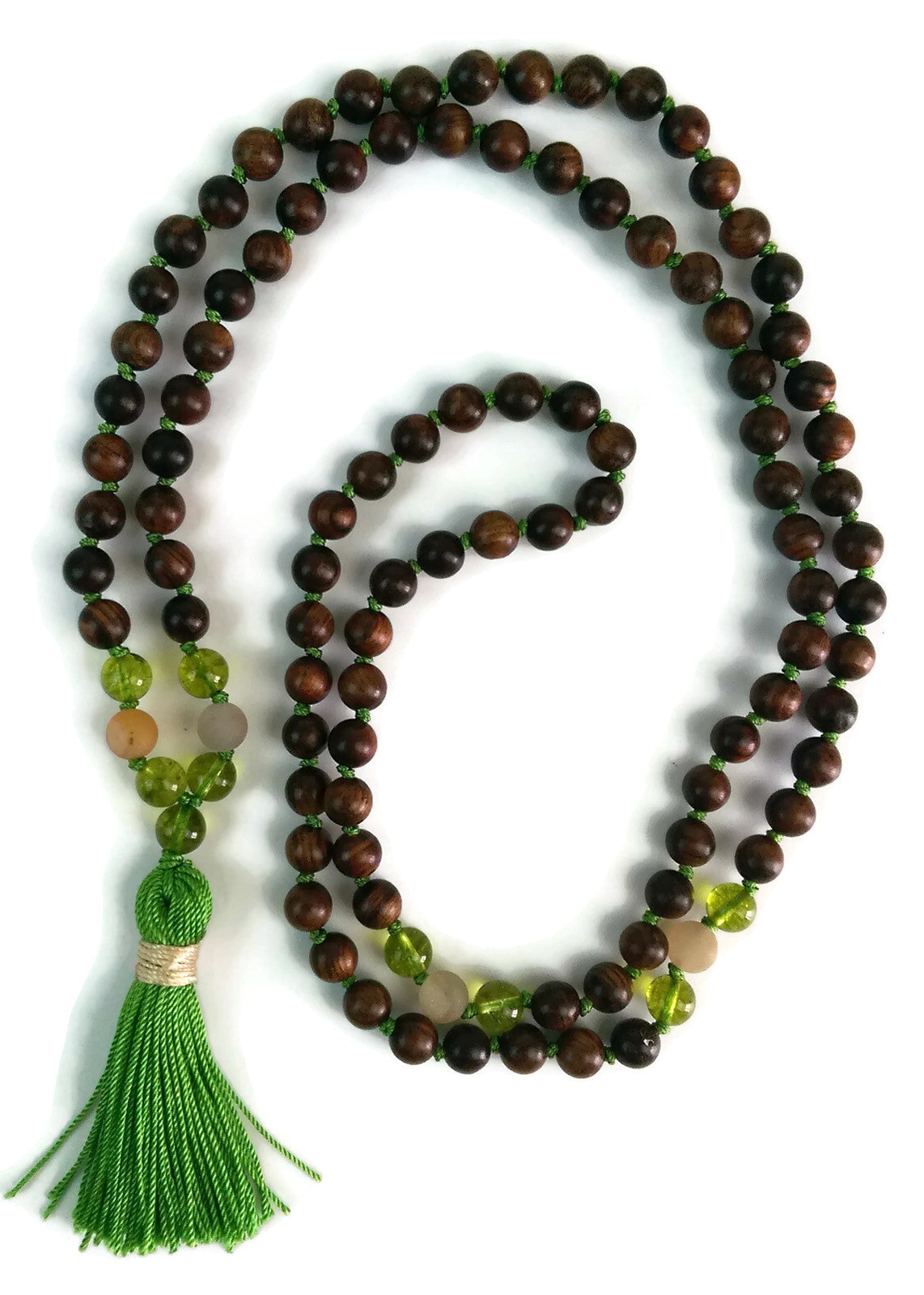 Balance Collection Sandalwood, Peridot and Frosted Agate Traditional Knotted 108 Meditation Mala Necklace with Green Tassel