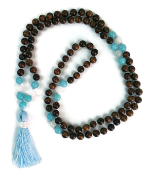 Balance Collection Sandalwood, Aquamarine and Labradorite Traditional Knotted 108 Meditation Mala Necklace with Blue Tassel Throat Chakra