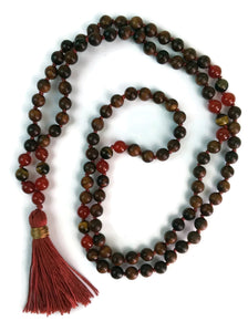 Balance Collection Sandalwood, Red Agate and Tigers Eye Traditional Knotted 108 Meditation Mala Necklace with Red Tassel Yoga Jewelry